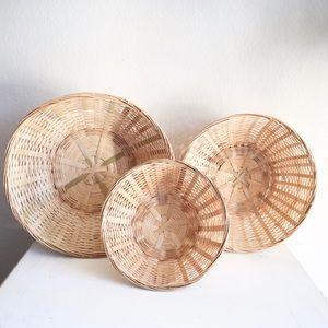 Boho wicker wall decor baskets